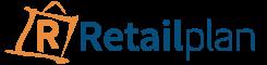 RetailPlan logo (Transparent background and Blue font with Orange Bag)